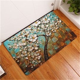 16×24in White Flowers Oil Painting Flannel Water Absorption Soft and Nonslip Bath Rug/Mat