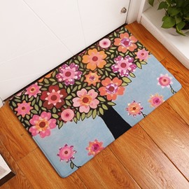 16×24in Colorful Flowers on Tree Flannel Water Absorption Soft and Nonslip Bath Rug/Mat