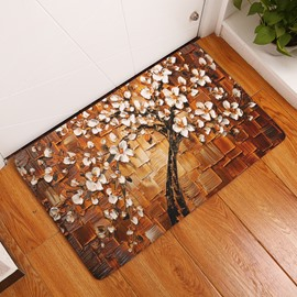 Magnolia Tree Printed Oil Painting Flannel Brown Bath Rug/Mat