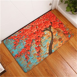 Red Tree Printed Oil Painting Flannel Bath Rug/Mat
