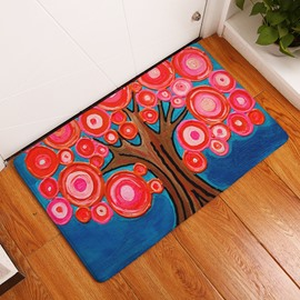 16×24in Red Flowers Flannel Water Absorption Soft and Nonslip Bath Blue Rug/Mat