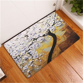 White Tree Printed Oil Painting Flannel Bath Rug/Mat