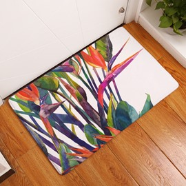 16×24in Colorful Tropical Plants Flannel Water Absorption Soft and Nonslip Bath Rug/Mat