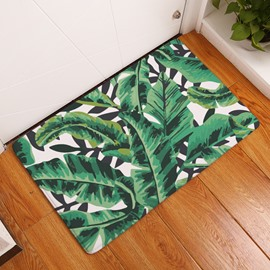 16×24in Green Tropical Plants Flannel Water Absorption Soft and Nonslip Bath Rug