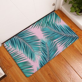 16×24in Green Plants Flannel Water Absorption Soft and Nonslip Bath Rug