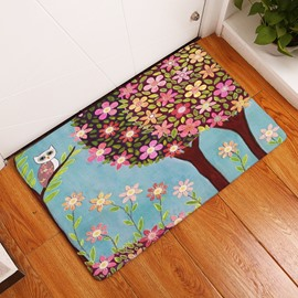 16×24in Colorful Flowers and Tree Flannel Water Absorption and Nonslip Blue Bath Rug