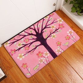 16×24in Brown Branches and Flowers Flannel Water Absorption and Nonslip Pink Bath Rug/Mat