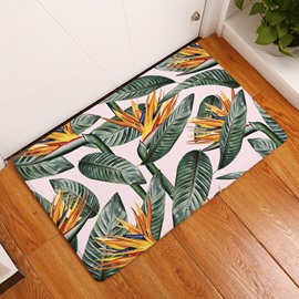 16×24in Green and Yellow Leaves Flannel Water Absorption Soft and Nonslip Bath Rug/Mat