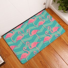 Flamingos and Ripples Printed Flannel Bath Rug/Mat
