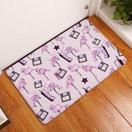 Flamingos and Bags Printed Flannel Pink Bath Rug/Mat