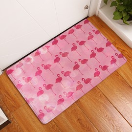 Face to Face Flamingos Flannel Pink Bath Rug/Mat