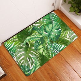 Tropical Plants Printed Flannel Green Bath Rug/Mat