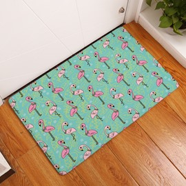 Cartoon Flamingos Printed Flannel Green Bath Rug/Mat