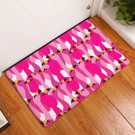 16×24in Rose Flamingos Pattern Water Absorption Soft and Nonslip Bath Rug/Mat