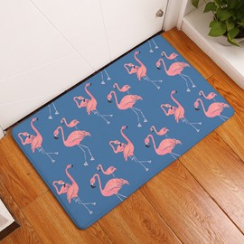 Walking Flamingos Printed Flannel Blue Bath Rug/Mat