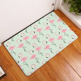 Little Flamingos Printed Flannel Green Bath Rug/Mat