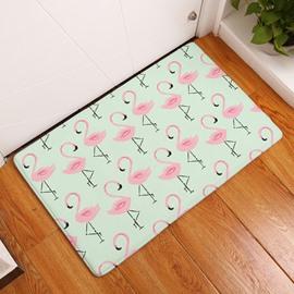 Little Flamingos Printed Flannel Green Bath Rug/Mat