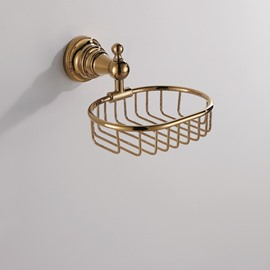 Contemporary Ti-PVD Finish Bathroom Accessories Solid Brass Soap Basket