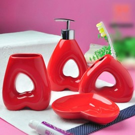 High Quality Heart Pattern Red Bathroom Accessories