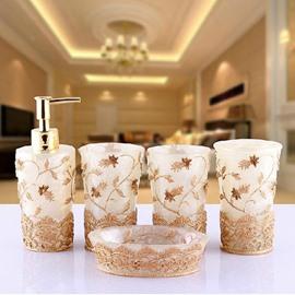 Graceful Vivid Embroidery Floral 5-piece Bathroom Accessories