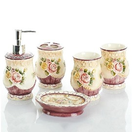 Beautiful Rose Relief European Style 5-piece Bathroom Accessories