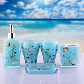 Fancy Creative Sea World Pattern 5-Piece Bathroom Accessories