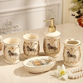 High Class Modern Style Lattice Pattern Running Horse 5 Pieces Bathroom Ensembles
