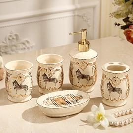 High Class Modern Style Lattice Pattern Running Horse 5 Pieces Bathroom Ensembles