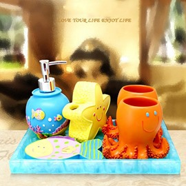 Lovely Cartoon Starfish and Octopus Pattern Five Pieces Bathroom Accessories