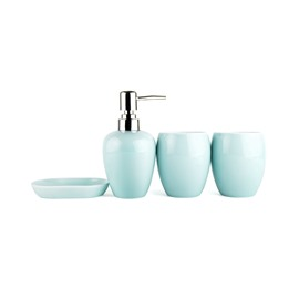 Light Colored Glaze Ceramics 4-Pieces Bathroom Accessories