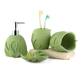 Chic Monstera Design Resin 4-Pieces Bathroom Accessories