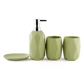 Contemporary Diamond Matte Ceramics 4-Pieces Bathroom Accessories