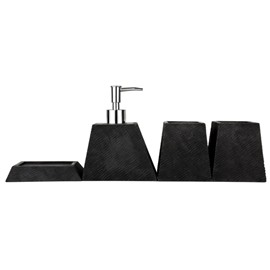 Contemporary Concise Pure Colored Resin 4-Pieces Bathroom Accessories