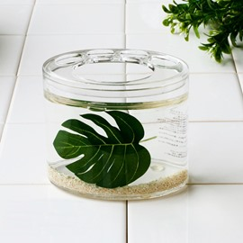 Creative Green Leaf Design 4-Pieces Organic Glass Bathroom Accessories