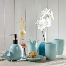 Cute Dolphin Design Ceramics 5-Pieces Bathroom Accessories