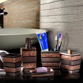 Brown Stripes 5-Piece Vintage Style Resin Durable Bathroom Ensemble