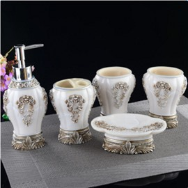 White Resin 5-Piece Baroque Style Durable Bathroom Ensemble