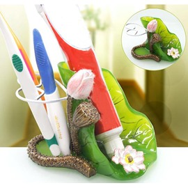 Graceful Beautiful Decorative Lotus Design Toothbrush Holder