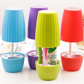 Cute Creative Multi-functional Plastic Toothbrush Holder with Cup