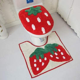 Sweet Soft Strawberry Design 3-piece Toilet Seat Cover and Rug Set