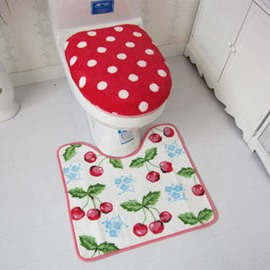 Sweet Plush Cherry 3-piece Toilet Seat Cover and Rug Set