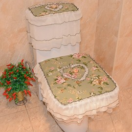 Fresh Pastoral Style Squarish Fit 3 Pieces Toilet Seat Cover Set