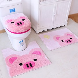 Super Lovely Animals Pattern 4 Pieces Toilet Seat Cover Set