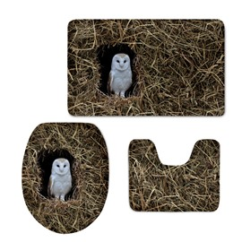 Snowy Owl in the Haystack Printed 3-Pieces 3D Toilet Seat Cover Sets