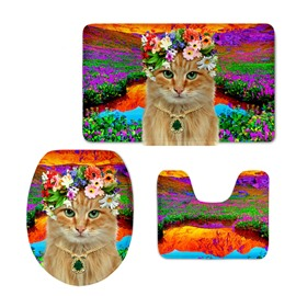 Miss Cat in the Flower Field 3D Printing 3-Pieces Toilet Seat Cover