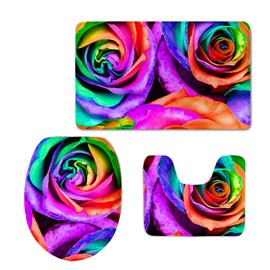 Polychrome Roses 3D Printing 3-Pieces Toilet Seat Cover