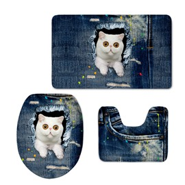 White Cats in the Jeans 3D Printing 3-Pieces Toilet Seat Cover