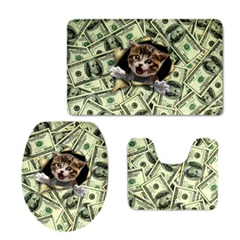Cute Cat Making Faces Printing 3-Pieces Toilet Seat Cover