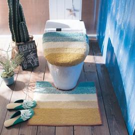 Dual Colored 3-Pieces Cotton Toilet Seat Cover Sets