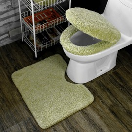 Light Green 3-Pieces Plush Toilet Seat Cover Sets